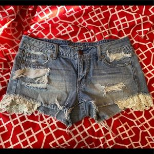 Denim AE Shorts with Lace Design